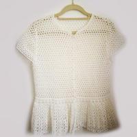 云帛Ⅱ女士白色钩针蕾丝短袖开衫