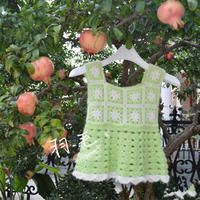 小苹果 甜美清新宝宝钩针拼花背心裙