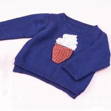 冰淇淋图案儿童棒针圆领毛衣
