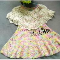 夏日必备款蕾丝两件套 儿童钩针飞袖裙+空调披肩