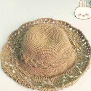 夏季宽檐女士钩针棉草帽