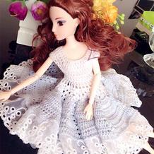 蕾线边钩针芭比娃娃婚纱图解