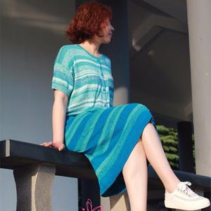 最美海岸线 夏款短袖女士棒针真丝连衣裙