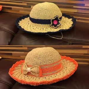 夏款女士钩针松叶针棉草拉菲帽子