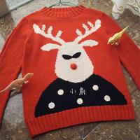 欢乐的麋鹿 儿童棒针卡通图案羊毛衫