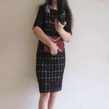 优雅知性女士棒针蕾丝礼服裙