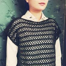 适合新手编织的极简女士钩针短款一字领套衫