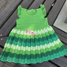 清新绿色系儿童钩针蕾丝小飞袖连衣裙