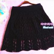 简单黑 女士钩针蕾丝半裙