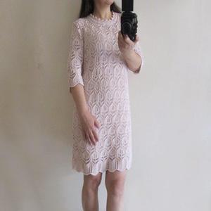 优雅女人味女士中袖棒针蕾丝连衣裙