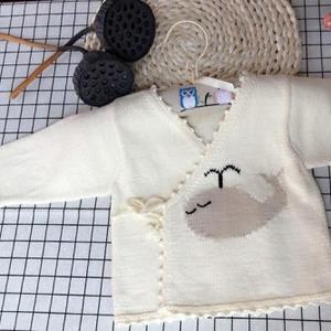 小鲸鱼新生儿宝宝斜襟毛衣棒针和尚服