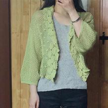 女士真丝羊绒灯笼袖钩织结合短款开衫
