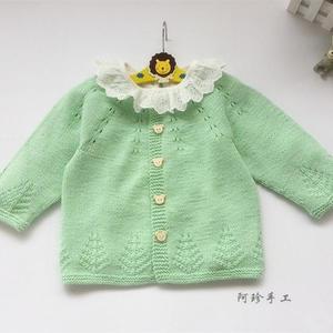 从上往下织婴幼儿棒针中性宝宝长袖开衫