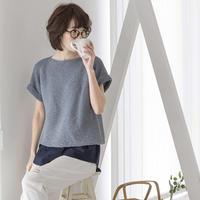 时尚极简风直袖款女士棒针搓板针短袖毛衣