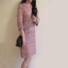 大牌贵族范Chanel款女士棒针连衣裙