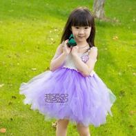 云帛埃及棉蕾丝钩纱结合小公主吊带蓬蓬裙