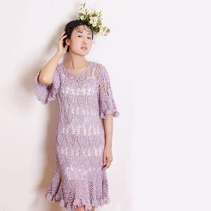 初夏微风 经典女士钩针菠萝花连衣裙