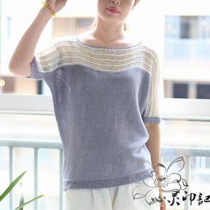 清凉夏季女士棒针拉丝拼色横织短袖