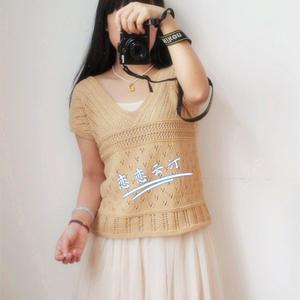 简单好织女士棒针春夏V领短袖衫