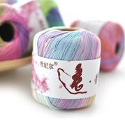 雪妃尔逸蕾丝 5号蕾丝长段染线纯棉线w66.com利来国际毛线春夏棉线