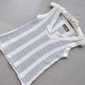清凉竖条纹节节棉女士棒针背心