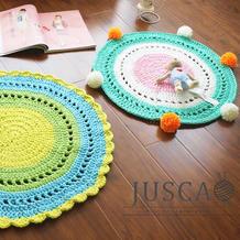 萌可爱趣味钩针镂空坐垫地毯编织视频教程