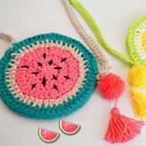毛线钩编水果西瓜小背包(4-1)简单有趣学编织系列视频教程