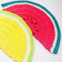 手工编织钩针西瓜造型水果地垫(4-2)简单有趣学编织系列视频教程