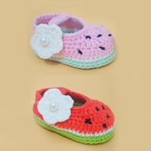 毛线钩针西瓜宝宝鞋编织就去(4-4)简单有趣学编织系列视频教程