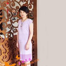 机织云朵女士短袖套裙 LK150快乐编织机作品