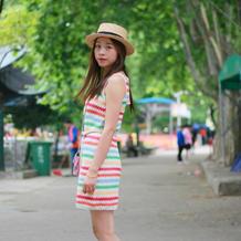炫彩夏日女士钩针条纹连衣裙