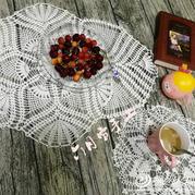 唯美蕾丝钩针编织亚麻桌垫