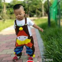 有趣可爱小丑图案棒针儿童背带裤