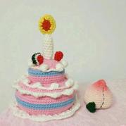 毛线编织奶油生日蛋糕加寿桃