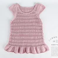 钩织结合女童小飞袖网格钩针套衫编织视频教程(2-1)