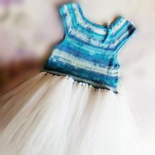 蓝白段染云朵大童钩针蓬蓬裙
