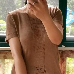 家用编织机机织女士真丝短袖衫 银笛SK280编织作品