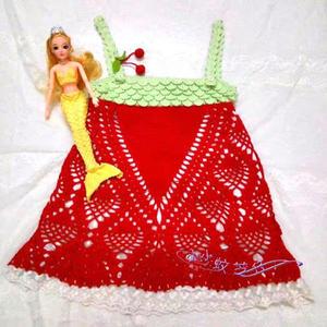 像草莓的云朵儿童钩针菠萝吊带裙