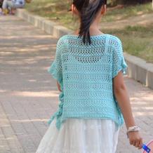 可以织成亲子款的儿童钩针宽松罩衫