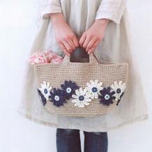 清爽自然麻线休闲钩针花朵手提包