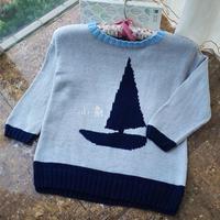 启航 云朵儿童棒针帆船图案拼色毛衣