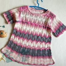 云朵段染儿童棒针镂空花短袖衫