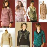 7款四季可穿的女士钩针一线连拼花衣图案图解