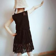 可以做亲子装的毛线球12儿童版钩针小黑裙