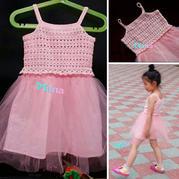 实用简单钩纱结合儿童吊带裙