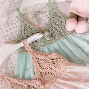 小清新菠萝蜜钩布结合吊带裙