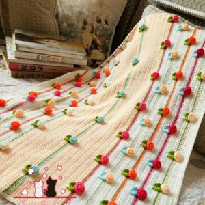 清新田园风钩针立体小玫瑰花毯子