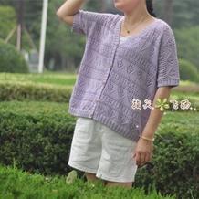 清新恬静云朵女士棒针宽松外搭短袖开衫