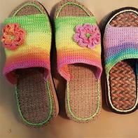 非常简单的蕾丝段染双股织亲子钩针拖鞋