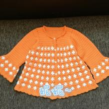 儿童钩针拼花喇叭袖外套开衫